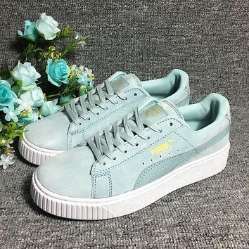 DCCKIJ2 Puma Rihanna Casual Suede Creeper Flatform Shoes Light Blue