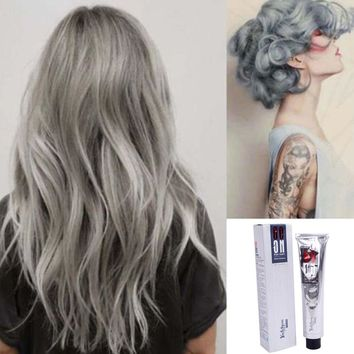 ISHOWTIENDA hair dye hair color Granny gray Permanent Punk Dye Light grandma colorhair wax Silver Color Cream 100ML pastel