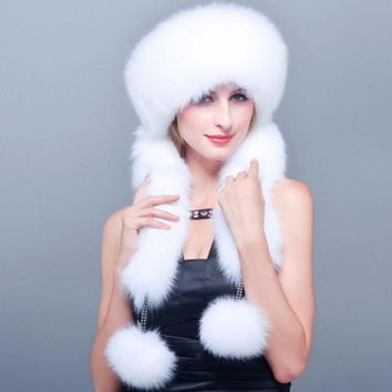 CREYET7 HM002 Real genuine fox fur hat winter women's warm ear caps with 3 colors