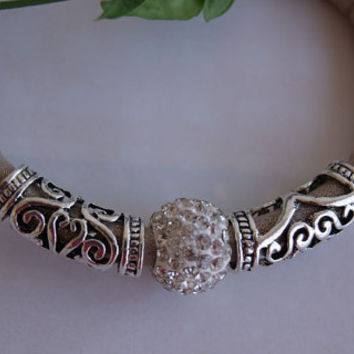 Beige and Silver Faux Leather Bracelet Adorned with Micro Pave & Decorative Beads. Eco-Friendly.