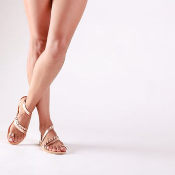 SERENADE, Sandals, Leather sandals , Gladiator rose gold sandals, Greek sandals