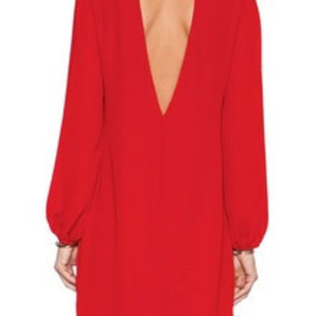 Red Long Sleeve Rouge Backless Dress