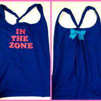 In The Zone Blue and Pink Workout Racerback by RufflesWithLove