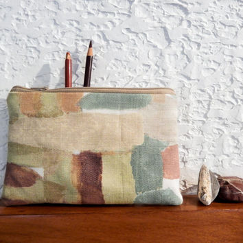 Boho Pouch, Cosmetic Bag, Pencil Pouch, Zipper Pouch, Fabric Pouch, Pouch, Gift for Her, Gift Under 20, Boho Motifs in Browns, Greens, Blues