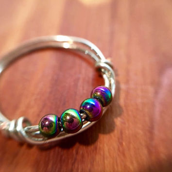 FREE SHIPPING Colorful Rainbow Hematite Stone Wire Wrapped Ring