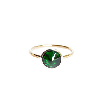 Emerald Ring, Mixed Metal Ring, Emerald Stone Ring, Thin Gold Ring