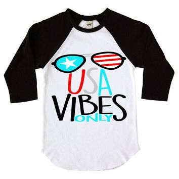 USA Vibes Only Kids Raglan Shirt