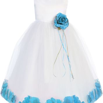 (Sale) Girls Size 3T 4T White Satin & Tulle Floating Flower Petals Dress with Aqua Blue Petals