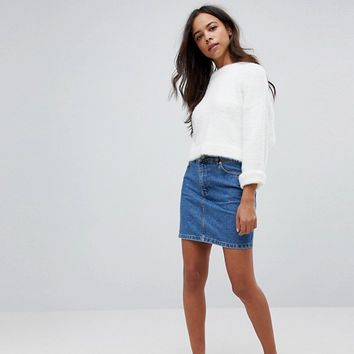 ASOS PETITE Denim Original High Waisted Skirt in Midwash Blue at asos.com