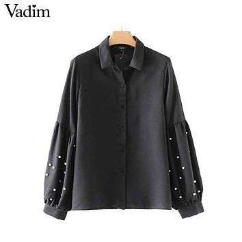 Vadim vintage pearls beading black shirts lantern loose fitting sleeve chic turn down collar blouse casual tops blusas LT2402