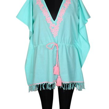 Aruba Blue Embroidered Kaftan