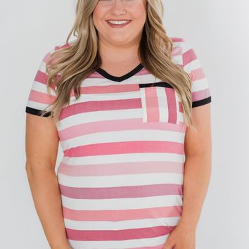 Lessons In Love Striped Pocket Top- Shades of Pink