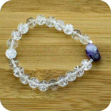 Ice Quartz Crystal Yoga Jewelry Bracelet with Amethyst