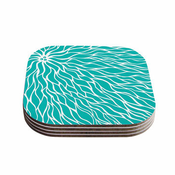 "NL Designs ""Swirls Tiffany"" Teal White Coasters (Set of 4)"