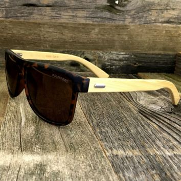 Bamboo Wayfarer Sunglasses with Brown Polarized Lens and Wood Bamboo Temples
