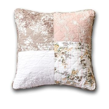 DaDa Bedding Set of 2 Bohemian Patchwork Dusty Rose Mauve Pink & Brown Floral Throw Pillow Covers, 18""