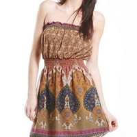 A'GACI Chiffon Printed Smock A Line Dress - New Arrivals