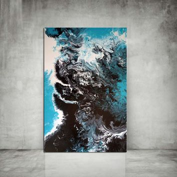 WANGART Abstract Oil Painting Colorful Canvas Art Posters Print Black Blue Ocean Wall Pictures for Living Room Wall Art Nordic