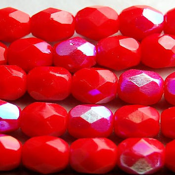 Czech Glass Beads 6mm Faceted in Bright Red AB finish -7 inch strand