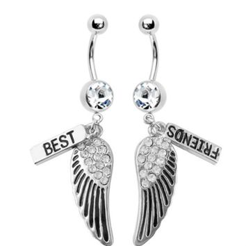 BodyJ4You Belly Button Rings Best Friends Wings Dangle 14G Lot of 2 Pieces Piercing Retainer