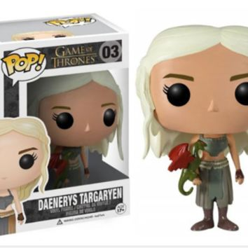 Funko - Pop Game of Thrones Daenerys Dragon Ride Jon Snow Wolf Figure Gift a F11