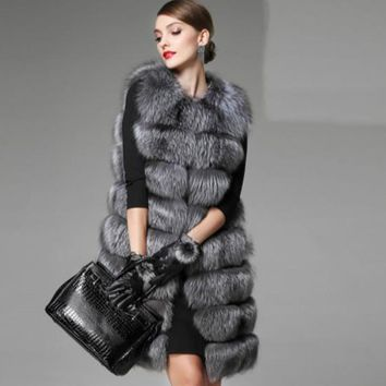 2018  Xulanbaby Winter Coat Women Faux Fox Fur Vest Wild Elegant Silm Faux Fox Warm Coat Long Plus Size Outwear Furry Coat AW276