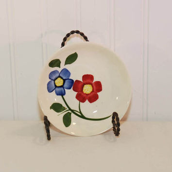Vintage Southern Potteries Blue Ridge Red and Blue Floral Berry Bowl (c. 1940's-1950's) Handpainted, Skyline, Dessert Bowl, Collectible
