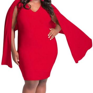 Red Cape Plus Size Poncho Dress