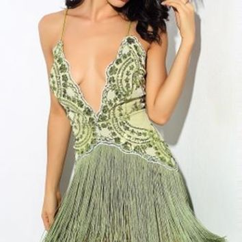 Dream Catcher Green Sequin Sleeveless Spaghetti Strap Plunge V Neck Fringe Mini Dress