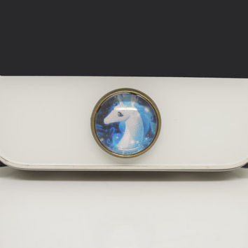 New Year Gift 1PC Retro Glass Epoxy Unicorn Horse Alloy Cell Phone Home Button Sticker Charm for iPhone 4s,4g,5,5c Gift for Him