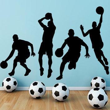 Wall Decals Basketball Decal Vinyl Sticker Athlete Decor Sports Hall Home Interior Design Bedroom Window Gym Sport School Art Murals MN517