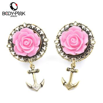 2Pcs 3D Pink Rose Gold Anchor Ear Tunnel Earring Stainless Steel Ear Plugs Gauge Body Jewelry Pierceing 6-13mm PLG 002