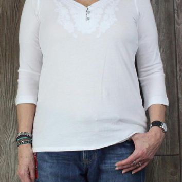 Nice J Jill M L size White Top Embroidered Womens Cotton Modal Blouse Career Casual