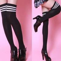 Cheerleader Women Girl Sexy Cotton Thigh High Striped Socks Over Knee Stockings = 1930064004
