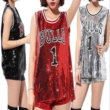 Women Beyonce Bulls 1 Sequined Girls Casual Tops Pole Dance/Disco/Jazz Dance/Hip-hop clothes