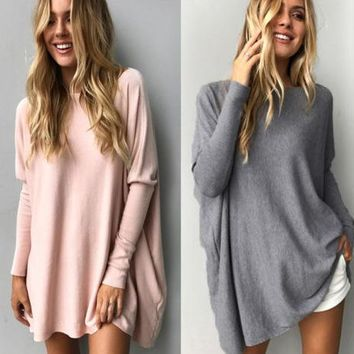 Round-neck Long Sleeve Casual Tops 6-color T-shirts [22425632794]