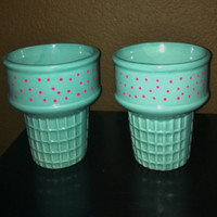 Ice Crea Cone Set/ Porcelin/Pink/Teal/Up Cycled
