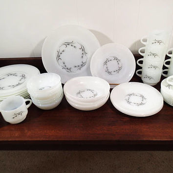 Vintage Fire King Dinnerware set Harvest Gray Wheat  42 pieces, dinner plates-salad plates-soup bowls-berry bowls-cups-saucers-sugar-creamer