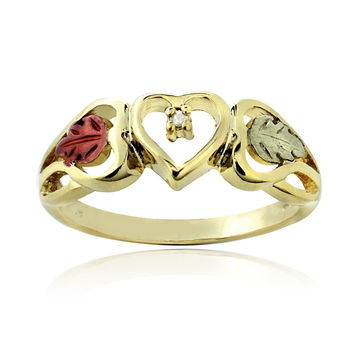 18K Gold over Sterling Silver Two Tone Diamond Accent Heart & Leaves Ring Size 10