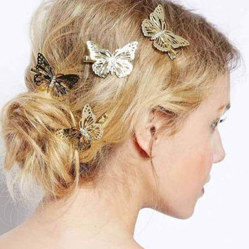 Beautiful Boho Gold Butterfly Hair Clips Wedding Hair Head Jewelry Bridal Party Gift