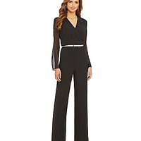 Gianni Bini Hunter Belted Sheer-Sleeve Jumpsuit - Black