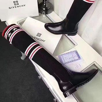Givenchy Autumn And Winter New Women Fashion Stripe Star Stockings Boots Shoes