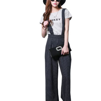 2016 New Casual Strip Women Suspender Pants Elastic Waist Loose Wide Led Pants Fashion All-Match Trousers Young Girls Overalls