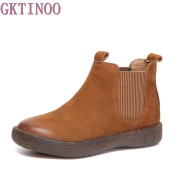 GKTINOO New women Genuine Leather Boots Vintage Style Flat Booties Soft Cowhide Women's Shoes Slip On Ankle Boots Female