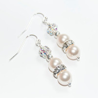 Swarovski Earrings, Cream Pearls, Bridesmaid gift, Wedding Jewelry, Christmas Gift