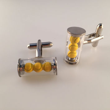 Tennis Cuff Links, Tennis Ball Cufflinks, Men's Cuff Links, Wedding Cuff Links, Father's Day, Graduation