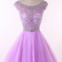 Purple Homecoming Dresses,Charming Beading Homecoming Dress