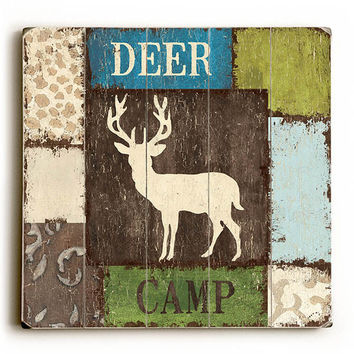 Deer Camp by Artist Debbie Dewitt Wood Sign