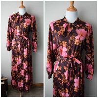 70s Brown & Pink Floral Boho Chic Front Zip Robe, Pussy Bow Maxi Dress // Loungeware by Gossard // Disco Bohemian Hippie Festival Style // M