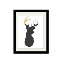 "Gold Dipped Deer Silhouette. Vintage Themed. Hipster. Minimal. Simple. Modern. 8.5x11"" Print."